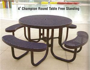 4' Perforated Champion Round Table, Free Standing