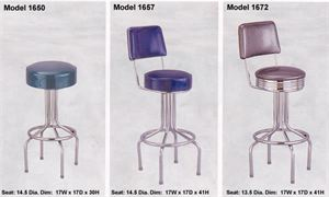 Diner Style Bar Stool with Upholstered Seat
