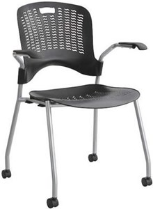 Plastic Stack Chair w/Arms & Casters (Qty of 2)