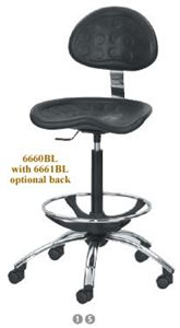 Stool w/Adj Foot Ring, Black, Chrome Base