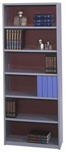 6-Shelf Steel Bookcase, Black