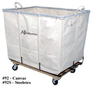 Canvas Basket Truck, White, All Swivel Casters