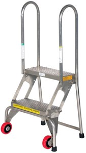 2-Step Stainless Steel Folding Ladders-350 lb Cap